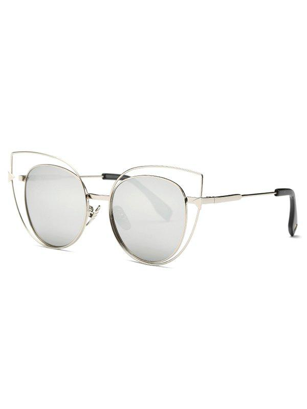 Stylish Hollow Out Cat Eye Mirrored Sunglasses - SILVER