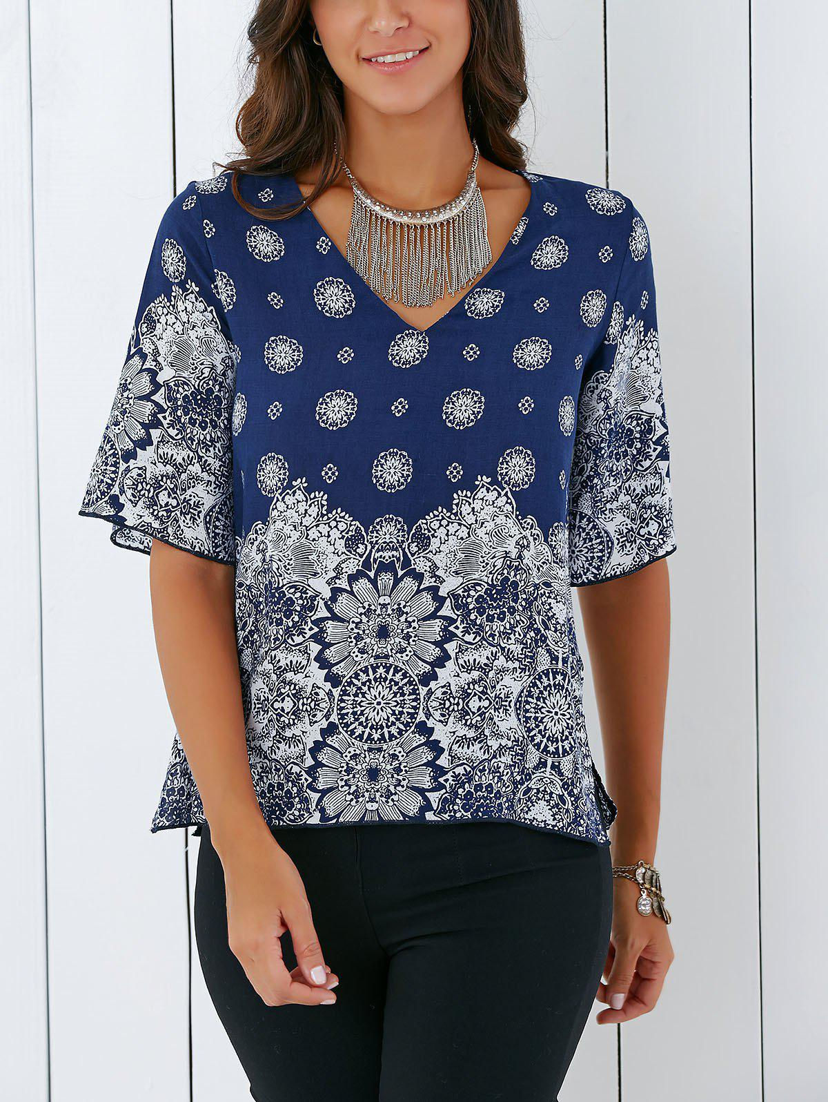 Vintage V Neck Tribal Print Furcal Blouse