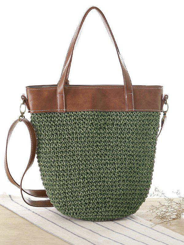 Concise Splicing and Weaving Design Women's Shoulder Bag - ARMY GREEN