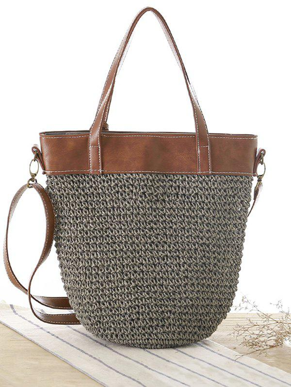 Concise Splicing and Weaving Design Women's Shoulder Bag - GRAY