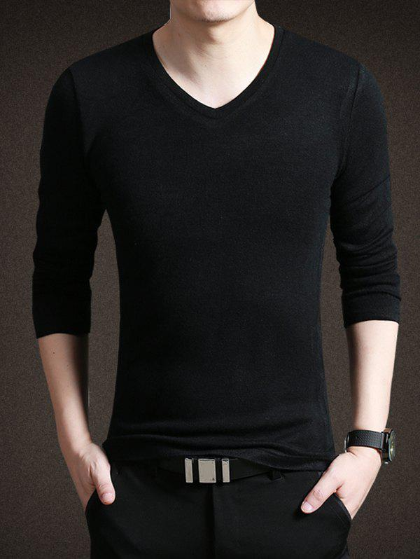 Pure Color V-Neck Long Sleeves Tee For Men - BLACK 2XL