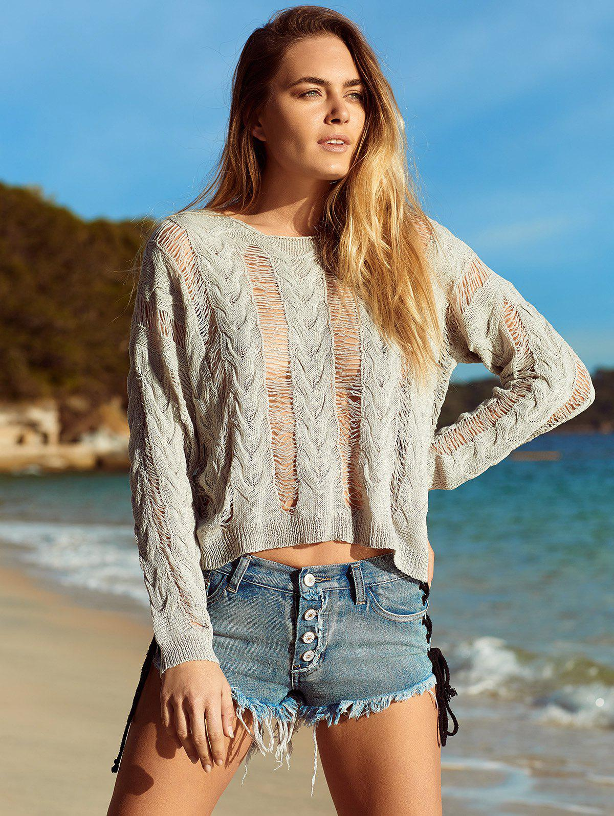 Alluring Long Sleeve Hollow Out Knitted Cover-Up - GRAY XL