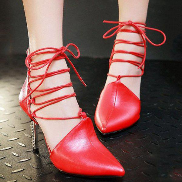 Chic Tie Up and Pointed Toe Design Women's Pumps - RED 39