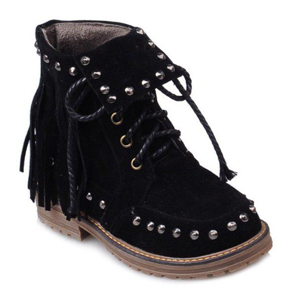 Punk Rivet and Fringe Design Women's Short Boots - BLACK 38