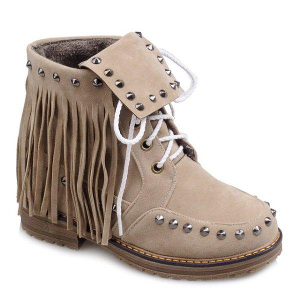 Punk Rivet and Fringe Design Women's Short Boots - APRICOT 39