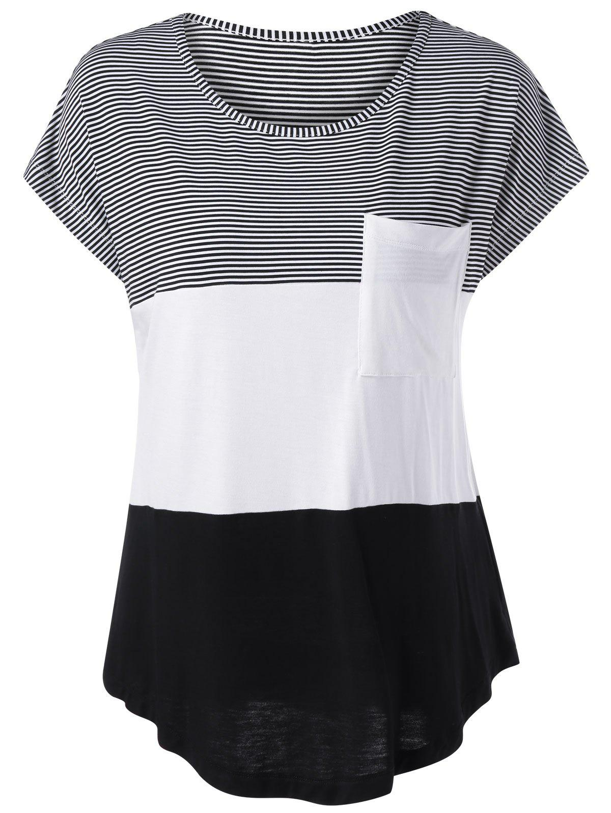 Cap Sleeve Color Block Asymmetrical T-Shirt - WHITE/BLACK M