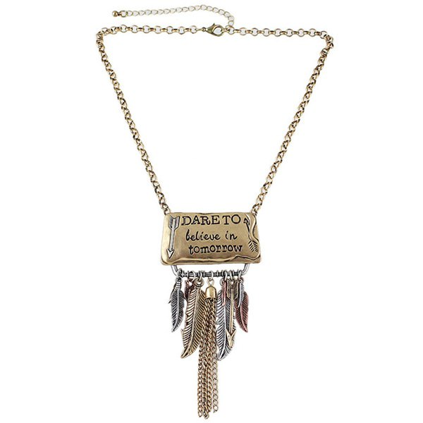 Letters Card Feather Chain Tassel Pendant Necklace - GOLDEN
