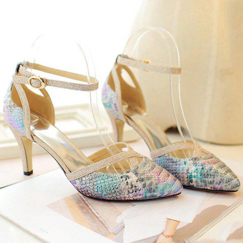 Stylish Embossing and Sequined Cloth Design Women's Pumps