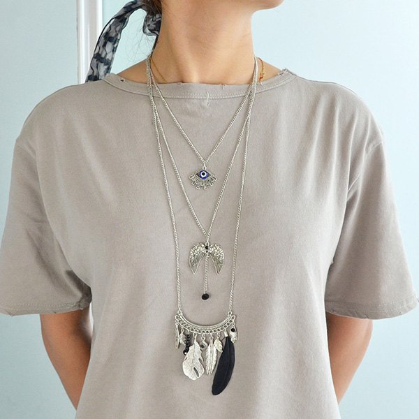 Multilayered Matchstick Eye Wings Faux Feather Beads Necklace - SILVER