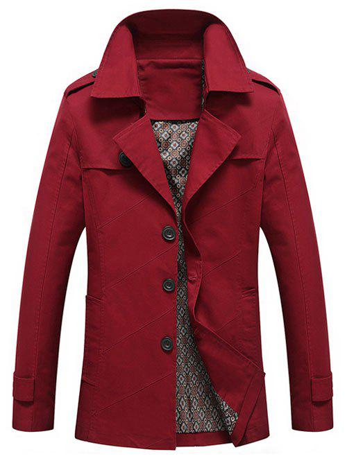 Turn-Down Collar Epaulet Design Single Breasted Long Sleeve Mens CoatMen<br><br><br>Size: XL<br>Color: WINE RED