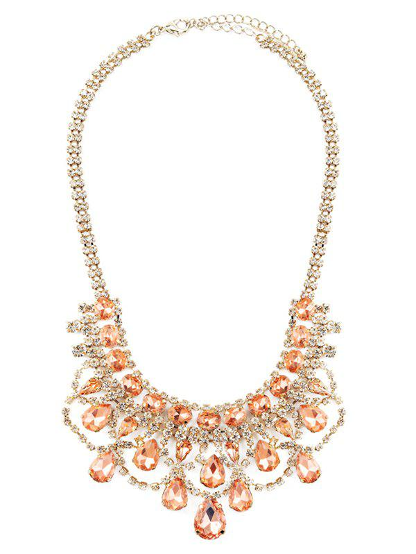 Gorgeous Faux Crystal Wedding Jewelry Necklace - GOLDEN