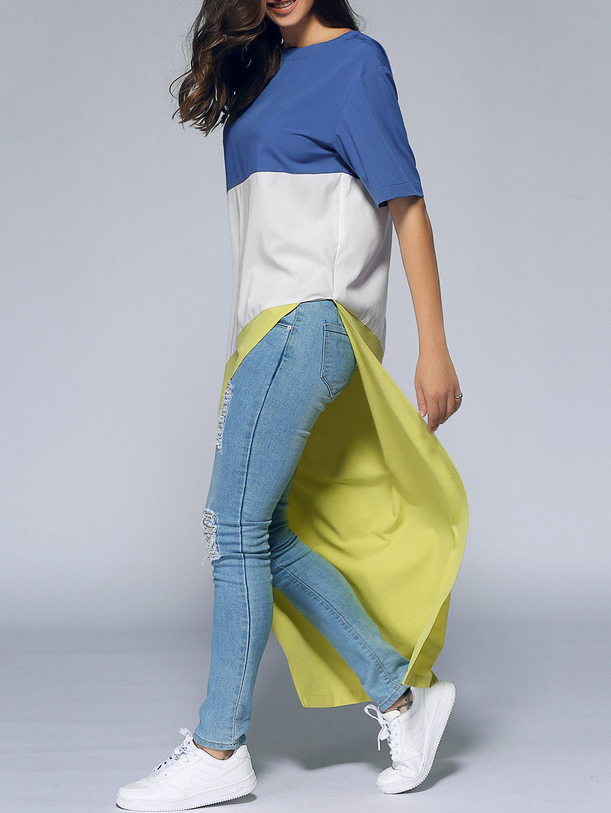 Novelty Color Block Asymmetrical Long T-Shirt - YELLOW XL