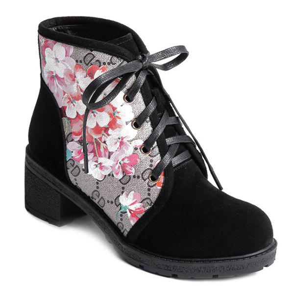Stylish Floral Print and Chunky Heel Design Women's Short Boots - BLACK 39