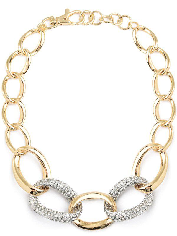 Statement Rhinestone Circle Alloy Necklace - GOLDEN