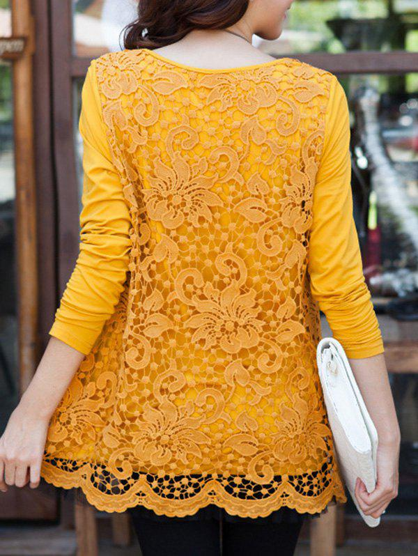 Charming Scoop Neck Lace Spliced Hollow Out Women's Blouse - GINGER 2XL