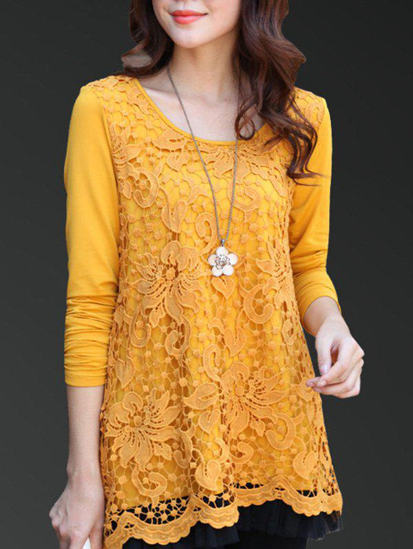 Charming Scoop Neck Lace Spliced Hollow Out Women's Blouse - GINGER 4XL