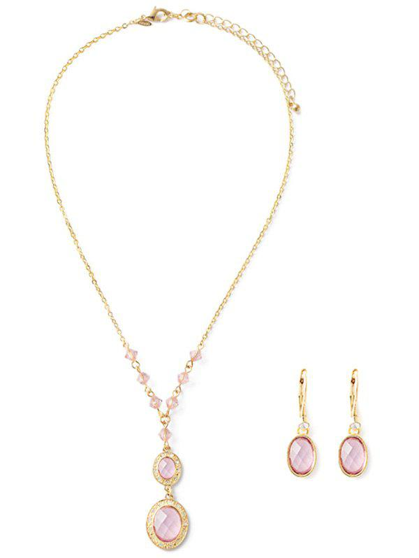 Faux Crystal Necklace and Earrings - PINK