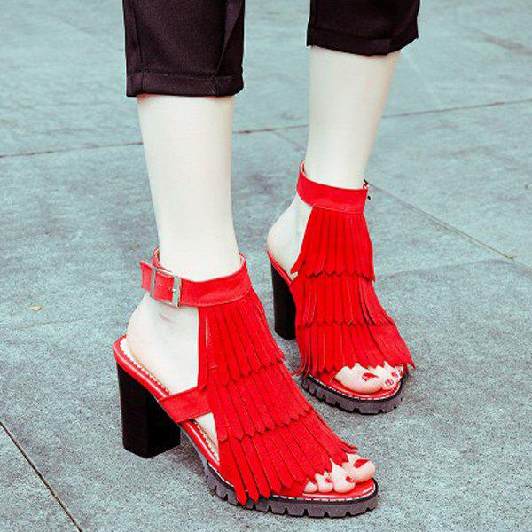 Stylish Chunky Heel and Layer Fringe Design Women's Sandals - RED 39