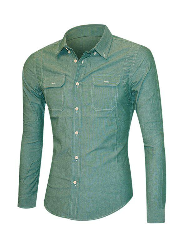 Solid Color Pockets Front Long Sleeve Men's Button-Down Shirt - BLACKISH GREEN XL