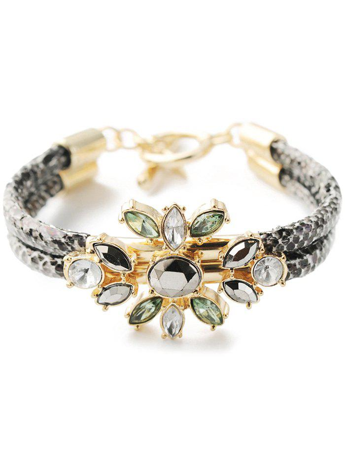 Faux Crystal PU Leather Bracelet - GOLDEN