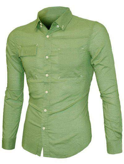 Pockets Front Solid Color Long Sleeve Men's Button-Down Shirt - ARMY GREEN XL