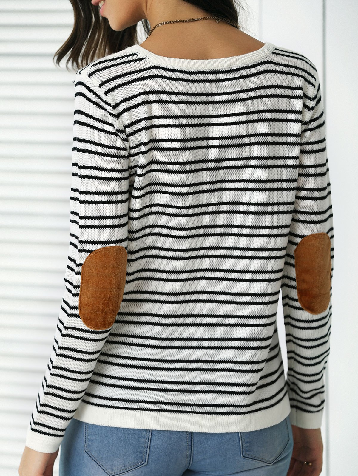 Trendy Patchwork Design Striped Sweater - STRIPE XL