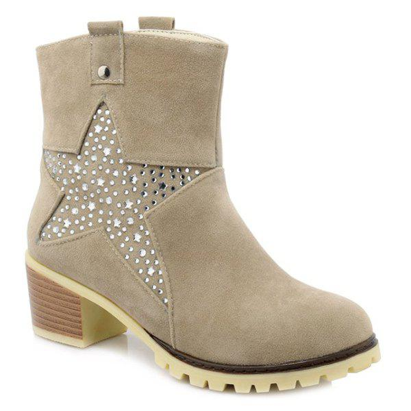 Trendy Star and Rhinestones Design Women's Short Boots - LIGHT KHAKI 39