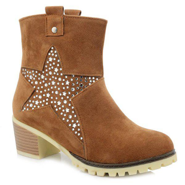 Trendy Star and Rhinestones Design Women's Short Boots - BROWN 39