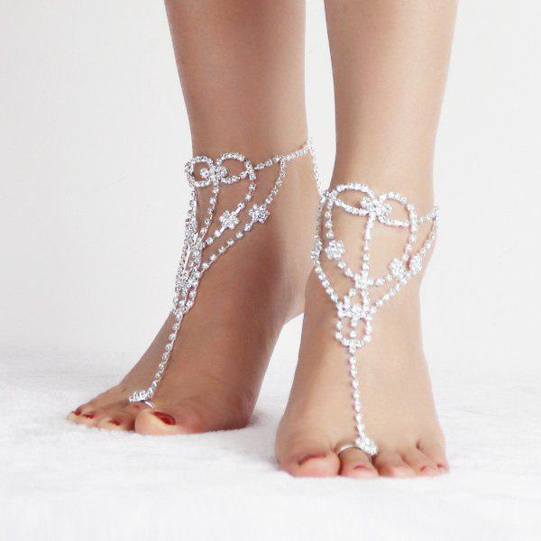 Pair of Graceful Rhinestoned Heart Anklets For Women