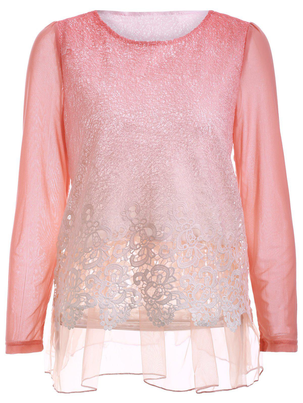 Chic Lace Spliced Hollow Out Loose-Fitting Women's Blouse - PINK 4XL