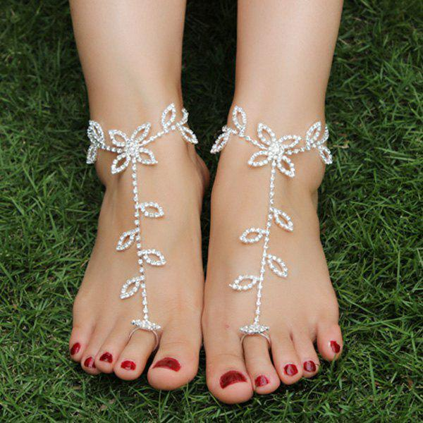 Pair of Rhinestoned Hollowed Leaf Anklets - SILVER