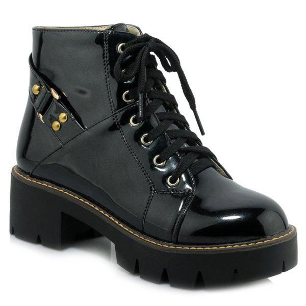 Casual Patent Leather and Lace-Up Design Women's Short Boots - BLACK 39