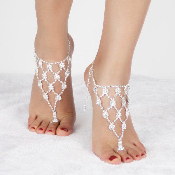Pair of Charming Rhinestoned Geometric Anklets For Women