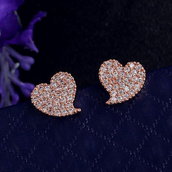 Rhinestoned Heart Shape Stud Earrings - ROSE GOLD