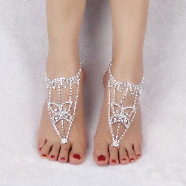 Pair of Hollow Out Rhinestoned Butterfly Anklets - SILVER