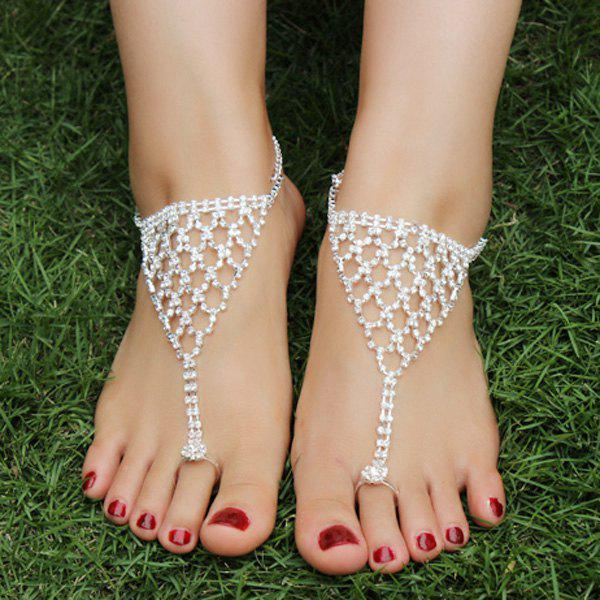 Pair of Rhinestone Net Shape Triangle Anklets - SILVER