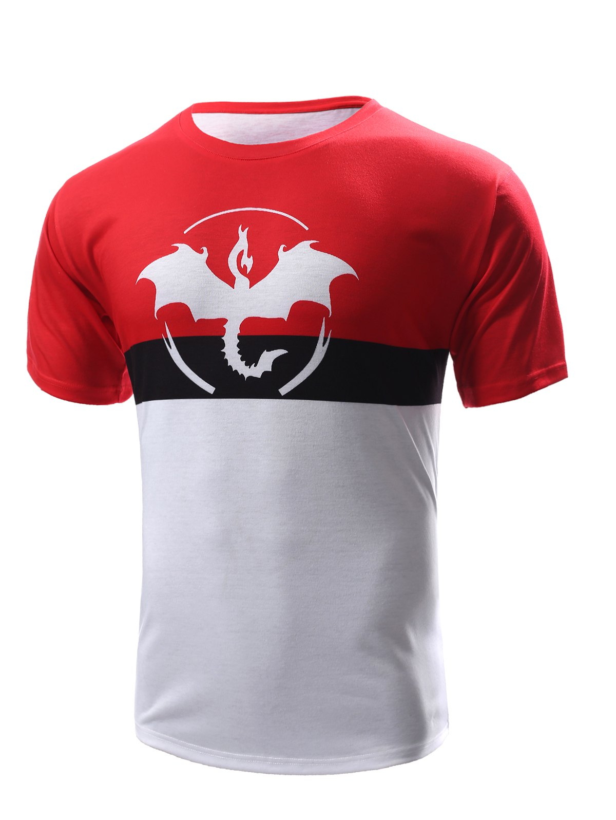 Abstract Print Color Block Men's Round Neck Short Sleeves T-Shirt - RED/WHITE XL
