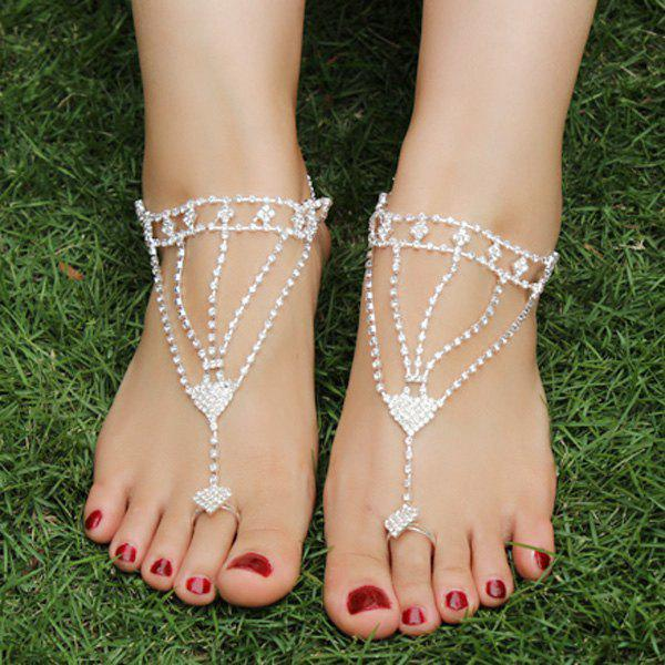 Hollow Out Triangle Rhinestoned Anklets - SILVER