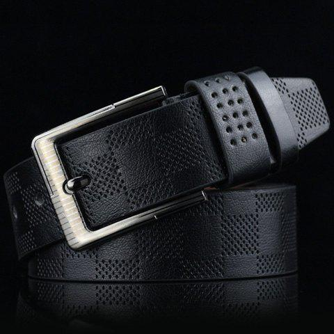 Stylish Pin Buckle Plaid Embossed Men's PU Wide Belt - BLACK