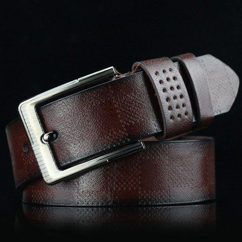 Stylish Pin Buckle Plaid Embossed Men's PU Wide Belt - COFFEE