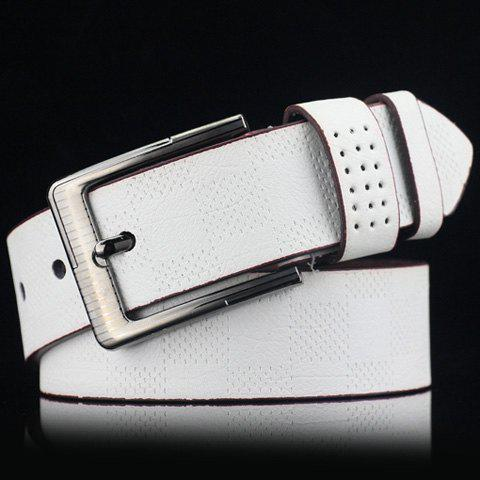 Stylish Pin Buckle Plaid Embossed Men's PU Wide Belt - WHITE