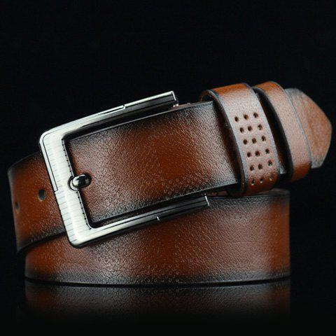 Stylish Pin Buckle Plaid Embossed Men's PU Wide Belt - BROWN