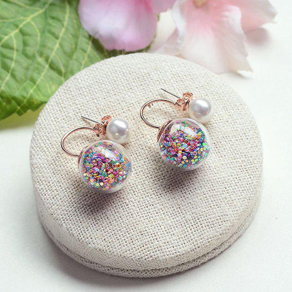 Glass Ball Faux Pearl Double End Earrings - COLORFUL