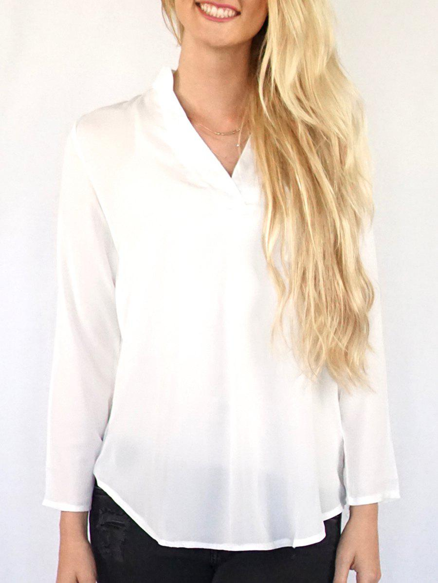 Casual V-Neck Solid Color 3/4 Sleeve Women's Blouse - OFF WHITE S