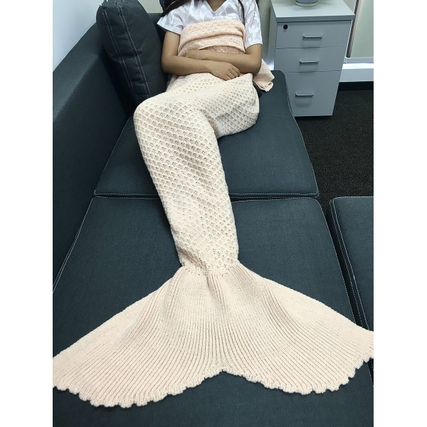 High Quality Solid Color Knitting Rhombus Design Mermaid Tail Blanket