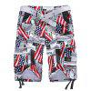 Newspaper and Flag Pattern Straight Leg Zipper Fly Pockets Embellished Men's Shorts - COLORMIX XL