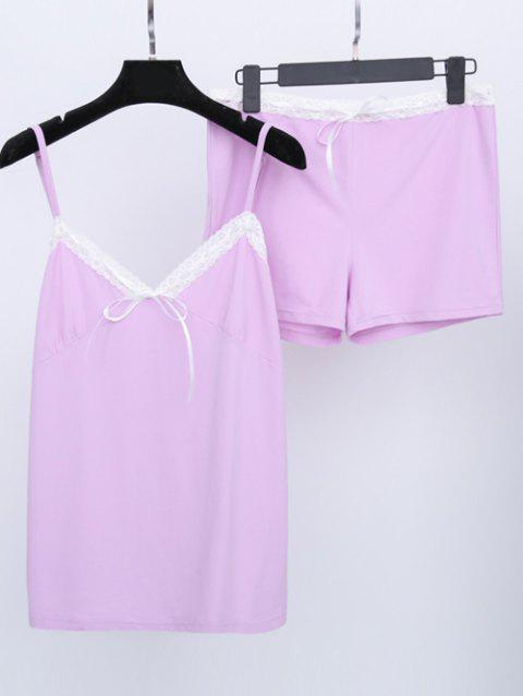 Oversized Lace Splicing Two Piece Loungewear - LIGHT PURPLE 2XL