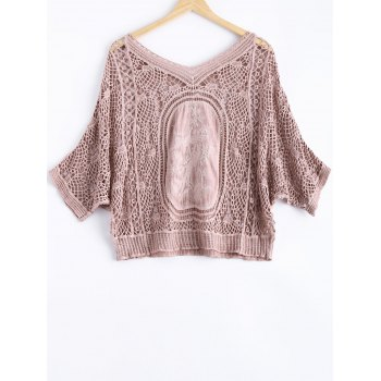 Cute Dolman Sleeve Carving Crochet V Neck See-Through Blouse