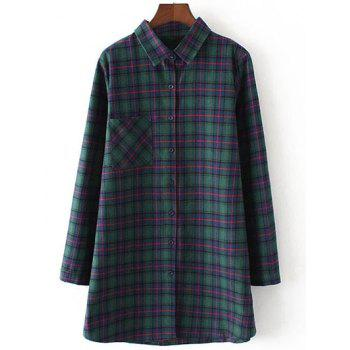Plus Size Gingham Print Single Pocket Flannel Long Shirt