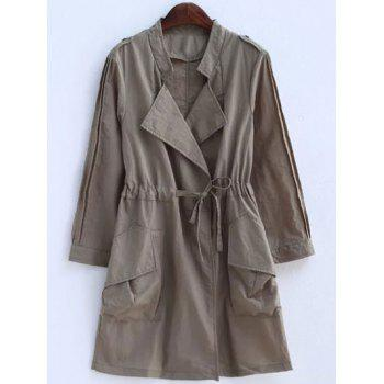 Plus Size Convertible Collar Epaulet Trench Coat - KHAKI 2XL